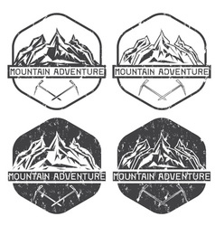 set of vintage grunge labels mountain adventure vector image vector image