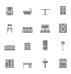 Silhouette home furniture icons set vector image