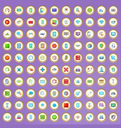 100 settings set in cartoon style vector