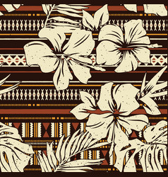 Abstract hibiscus flower tribal fabric wallpaper vector