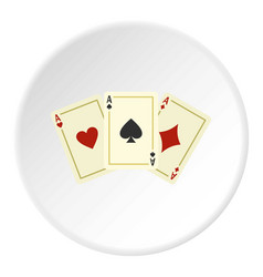 Aces playing cards icon circle vector