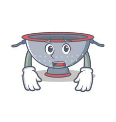 Afraid colander utensil character cartoon vector