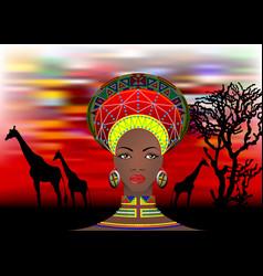 African tribe clothes female zulu bantu portrait vector