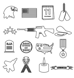 American veterans day celebration outline icons vector