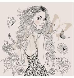 beautiful summer girl vector image