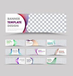 big set horizontal white web banners with wavy vector image