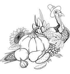 Black And White Thanksgiving still life vector image