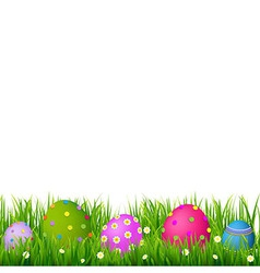 Border with grass and eggs easter card vector