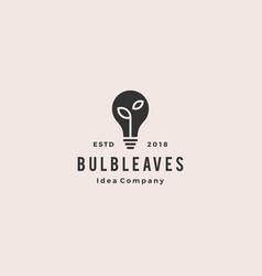 bulb leaf logo hipster vintage retro icon vector image