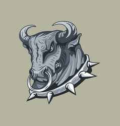 Bulls head in a studded collar monocolor freehand vector