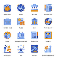 Business development icons set in flat style vector