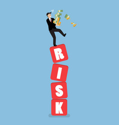 Businessman carrying his money on shaky risk vector