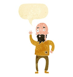 Cartoon bearded man waving with speech bubble vector