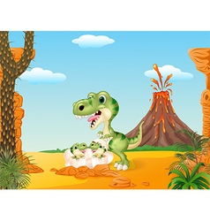 Cartoon mom tyrannosaurus dinosaur and baby vector image