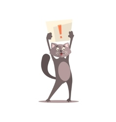 Cat Holding Paper With Exclamation Point vector