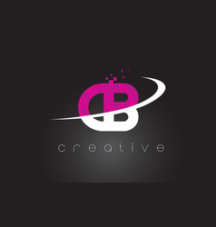 cb c b creative letters design with white pink vector image