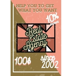 Color vintage real estate agency banner vector image