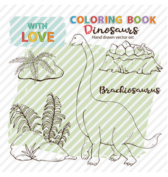 coloring page antistress brachiosaurus and vector image