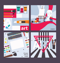concept square cards about drawing art and vector image