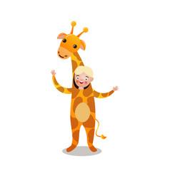 cute blonde hair boy smiling in giraffe costume vector image