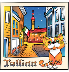 cute cat in tallinn estonia vector image