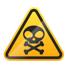 danger skull and bones sign isolated on white vector image