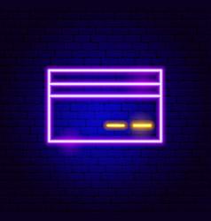 Debit card neon sign vector