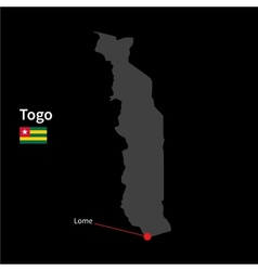 Detailed map of Togo and capital city Lome with vector