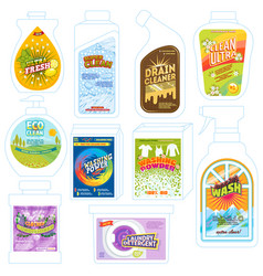 detergent package cleaner washing product vector image
