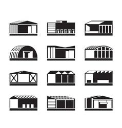 Different Industrial warehouses vector