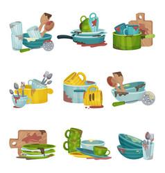Dirty kitchen utensils and crockery vector