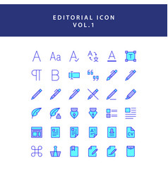 Editorial filled outline icon set vol1 vector