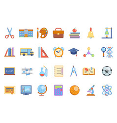 Education colladge school knowledge icons set line vector