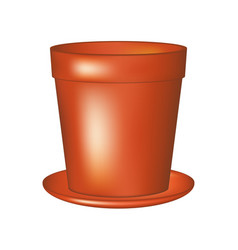 Empty flowerpot in terracotta colour vector