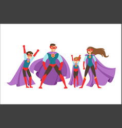 Family superheroes set smiling parents and vector