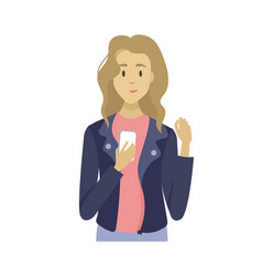 female using smartphone holding mobile vector image
