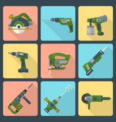 Flat house remodel power tools icons vector