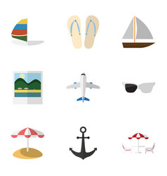 Flat icon beach set of beach sandals reminders vector