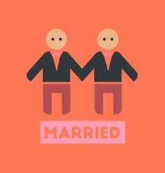 Flat icon on stylish background gay newlyweds vector