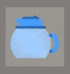 Flat shading style icon coffee kettle dishware vector