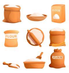 Flour icons set cartoon style vector