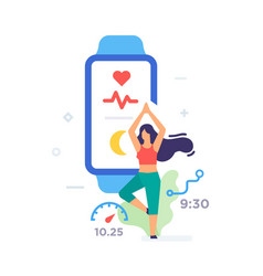girl doing yoga smart bracelet icon vector image