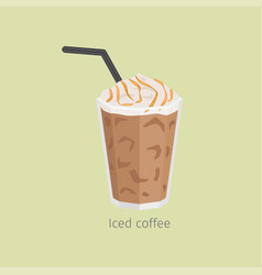 Glass of iced coffee with syrup flat vector