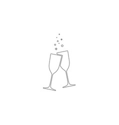 glasses clink flat icon vector image