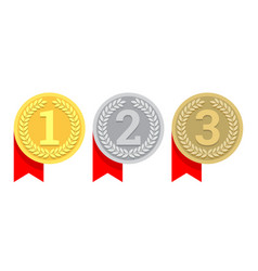 gold silver and bronze medal icon vector image