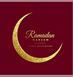 Golden glitter eid moon ramadan kareem background vector