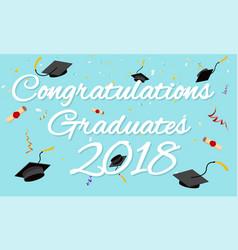 Graduation poster graduation caps scrolls confetti vector