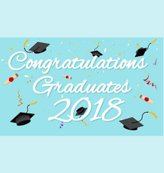 graduation poster graduation caps scrolls confetti vector image