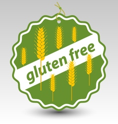 Green gluten free wheat stamp tag label vector