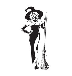 Halloween beautiful sexy witch holding broomstick vector